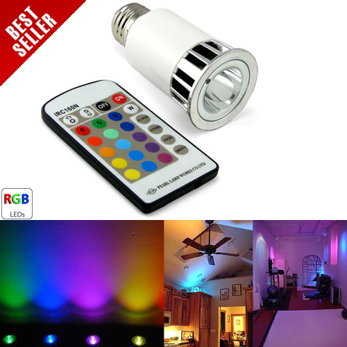 Multi-Color LED Light Bulb w/Remote - E27 base