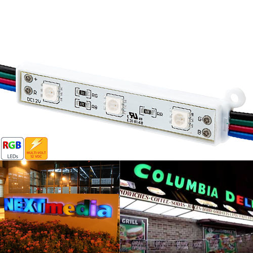 75mm Bars - 12V Digital RGB LED Pixels (Strand of 20) - LM-RGBX3
