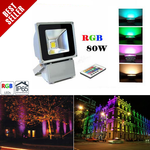 High Power 80W RGB LED Flood Light Fixture with Remote