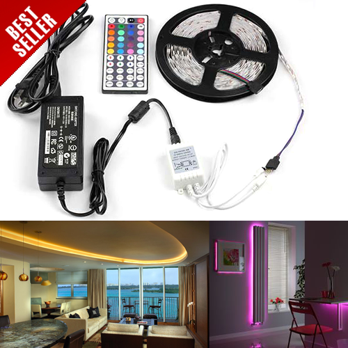 5m (16.4ft) 5050 SMD Color Changing RGB LED Light Strip Kit With 44 key Controller and Power Supply