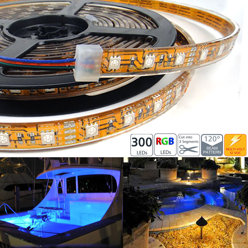 Waterproof 300 High Power RGB LED Flexible Light Strip - 300 LEDs 5M/reel